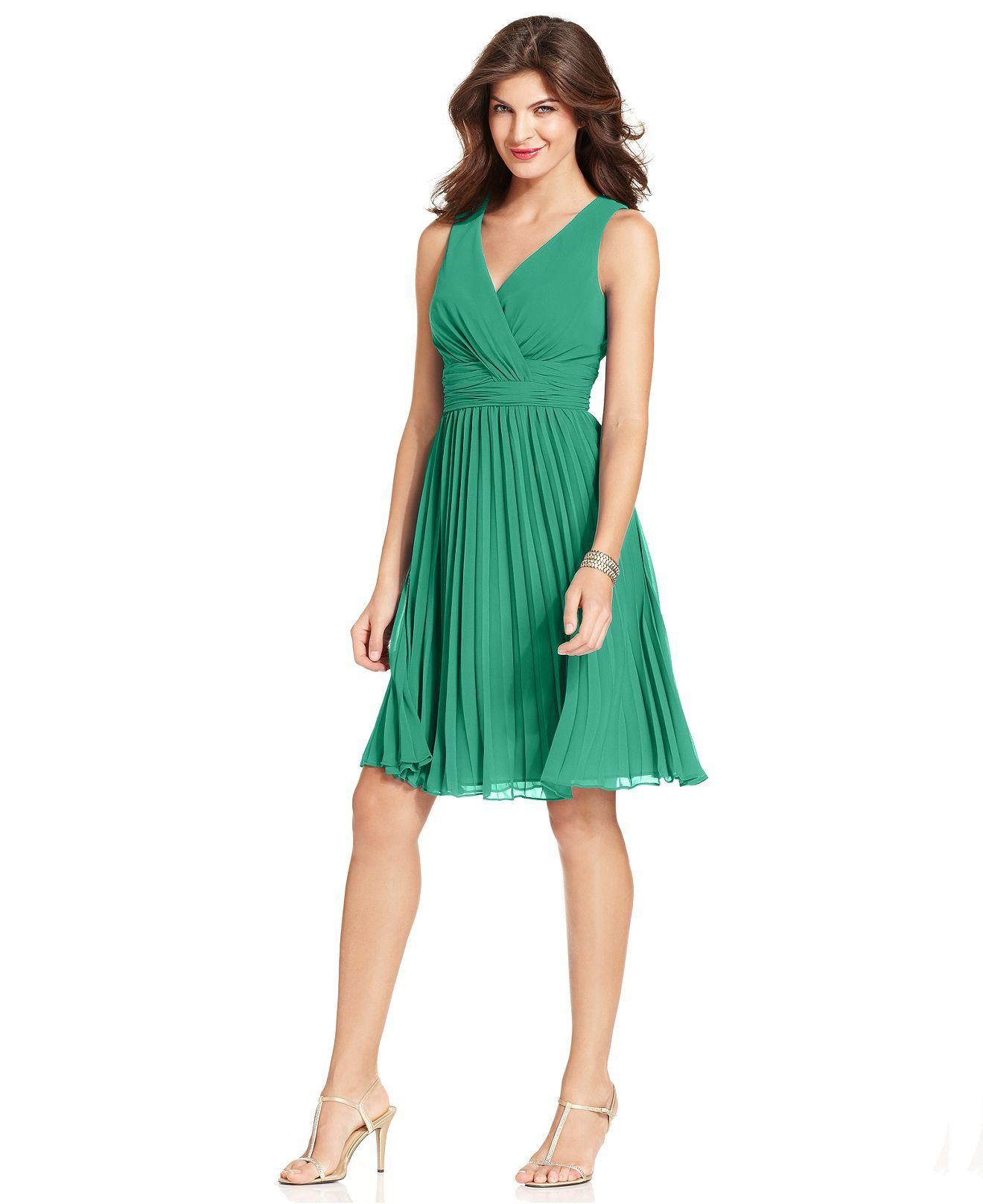 Evan Picone Dress, Sleeveless Empire-Waist Pleated - Dresses - Women ...