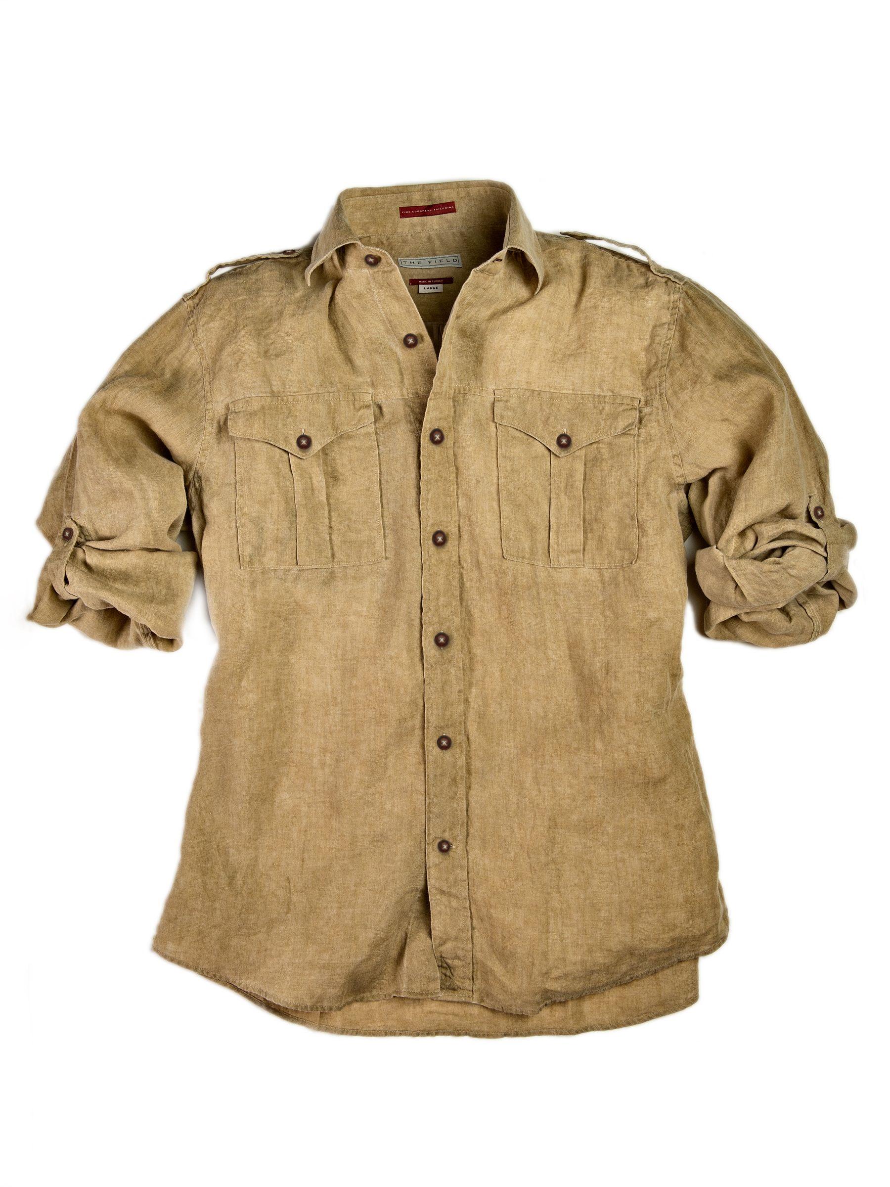 Safari Shirt Cognac Heels: Linen Bush Shirt-Khaki