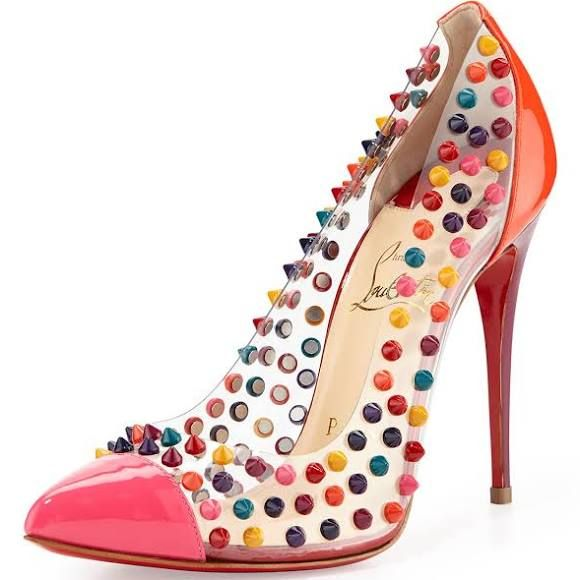 Christian Louboutin Spike Me PVC Cap-Toe Red Sole Pump Pink