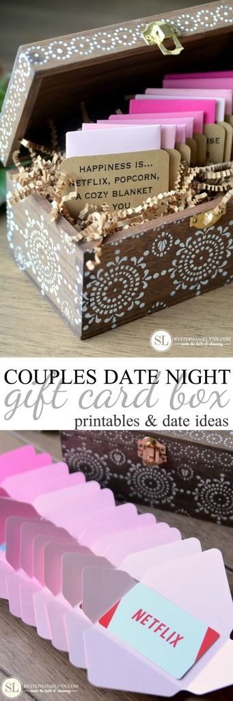 Date Night Gift Card Box 12 Pre Planned Date Ideas For Two Bystephanielynn Date Night Gifts Gift Card Boxes Valentine S Day Diy
