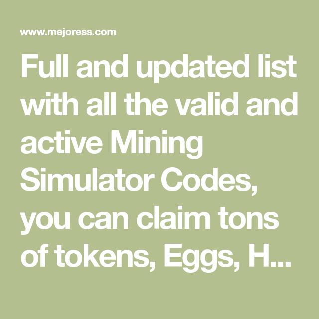 Mining Simulator Codes Roblox March 2020 Coding Simulation