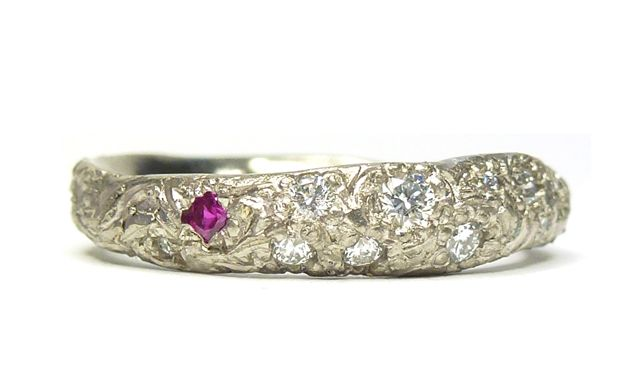 Katherine Bowman 18ct white gold Precious ring with ruby and diamonds