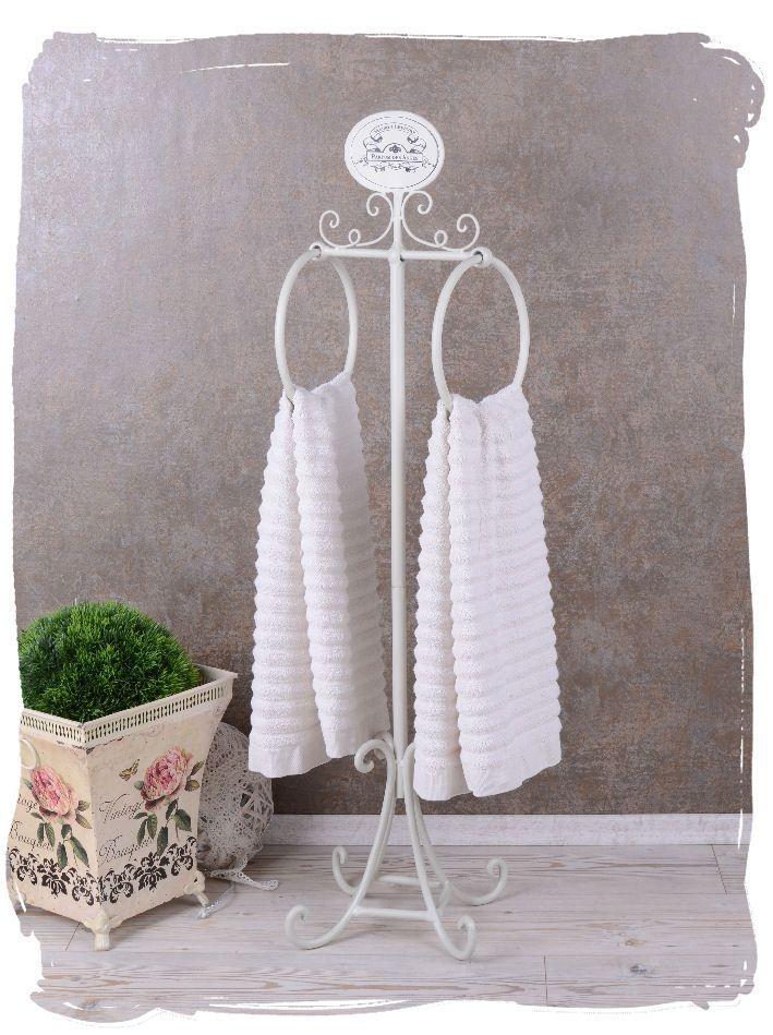Handtuchständer Shabby Chic Handtuchhalter WEISS Badezimmer Vintage