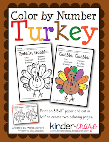 Get A FREE Turkey Color By Number Activity From Kinder Craze And Check Out Crazes Other Thanksgiving Themed Products To Celebrate In Your Classroom