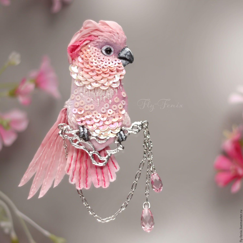 Купить брошь - Молуккский Какаду - птица, птичка, пташка, миниатюра, маленькая брошь, на платье, брошка