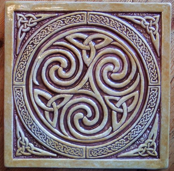 8 x 8 relief carved Celtic Spiral knot tile  $50.00 Shown here in a combination of Walnut and Honey gloss. Color choice.  By Earth Song Tiles