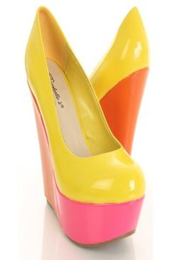 Yellow Faux Patent Leather Colorblock Closed Toe Platform Wedges