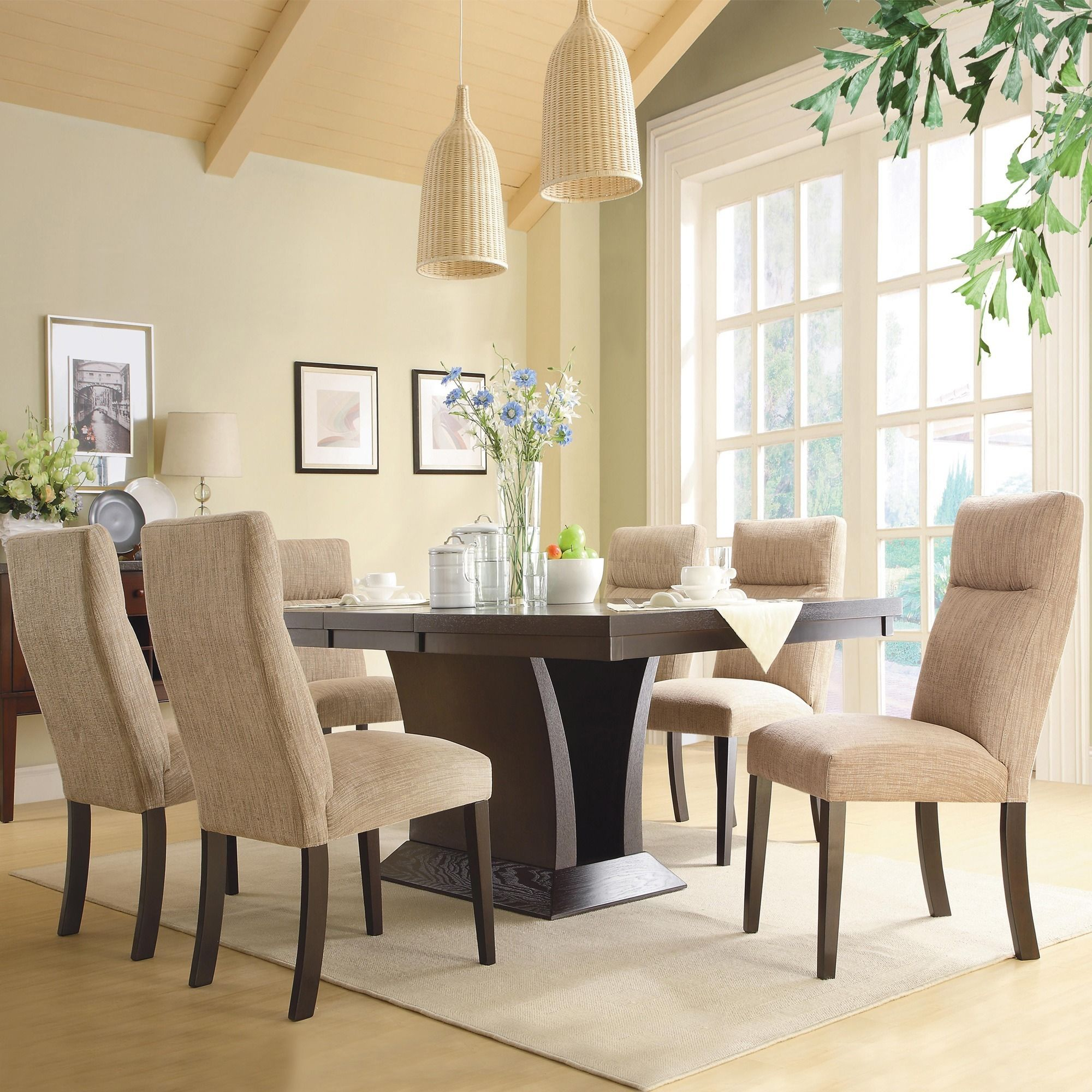 Modern Dining Room Sets: Charles Espresso Contemporary Dining Set By INSPIRE Q