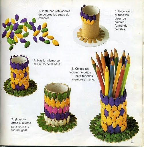 Ideas de manualidades mexicanas para ninos portalapices con tubos de papel higienico - Manualidades cocina para ninos ...