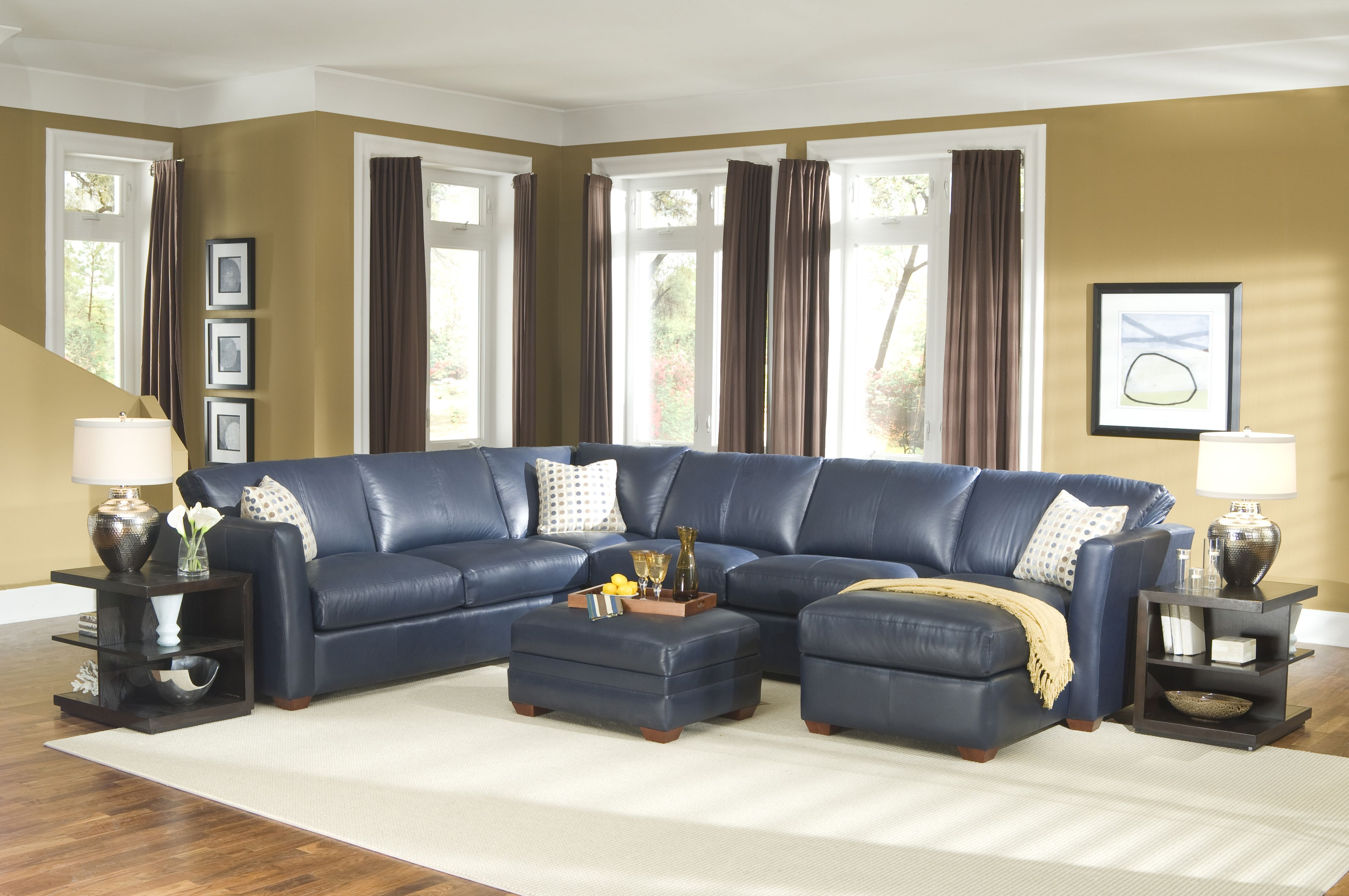 Brilliant Navy Blue Leather Sectional Sofa Living Room With