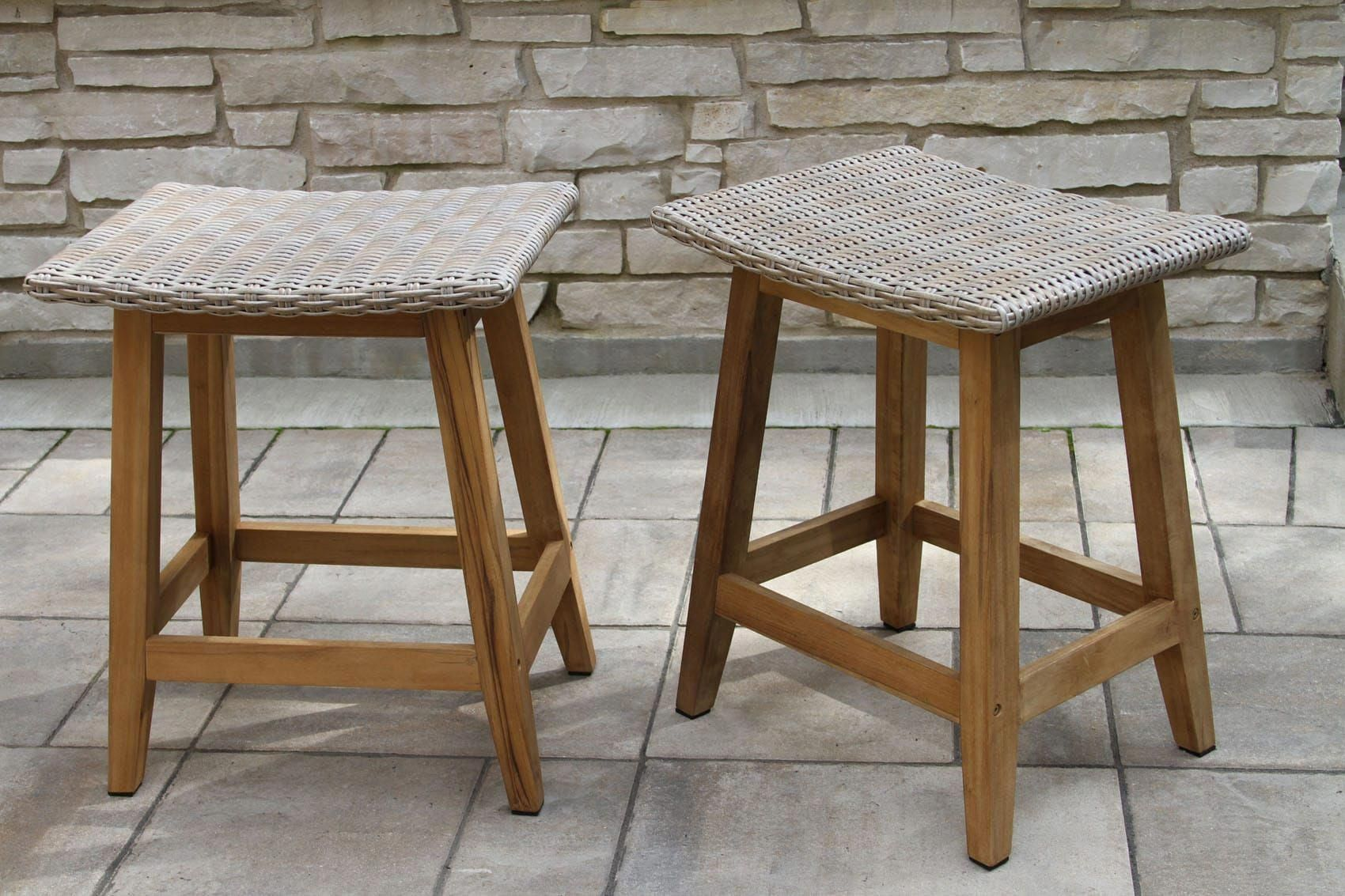 Contemporary teak and all weather ash wicker square counter height stool is made for any counter height table or dining set counterheighttable