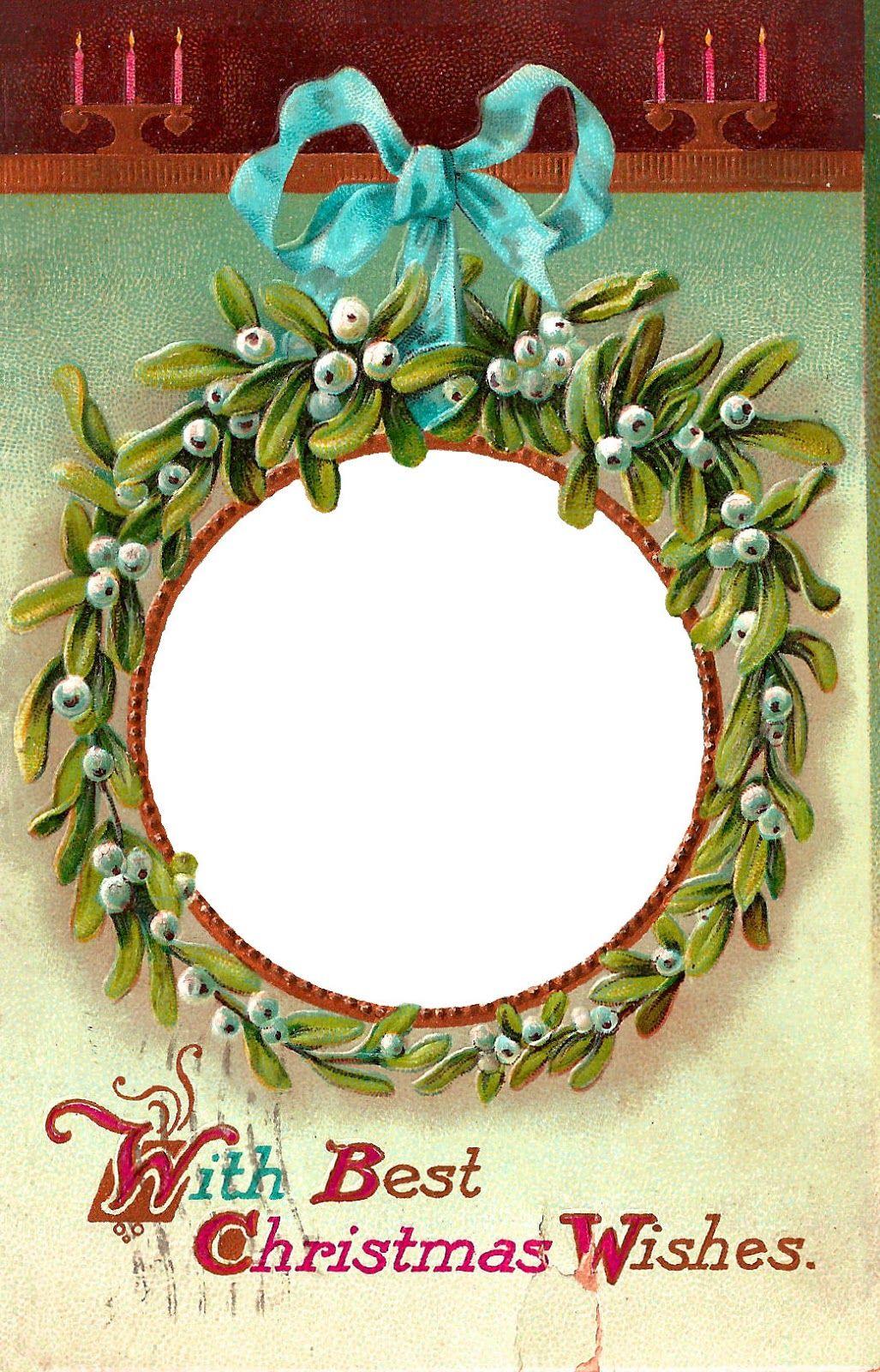 Free antique Christmas Holly Mistletoe printable frame clip art