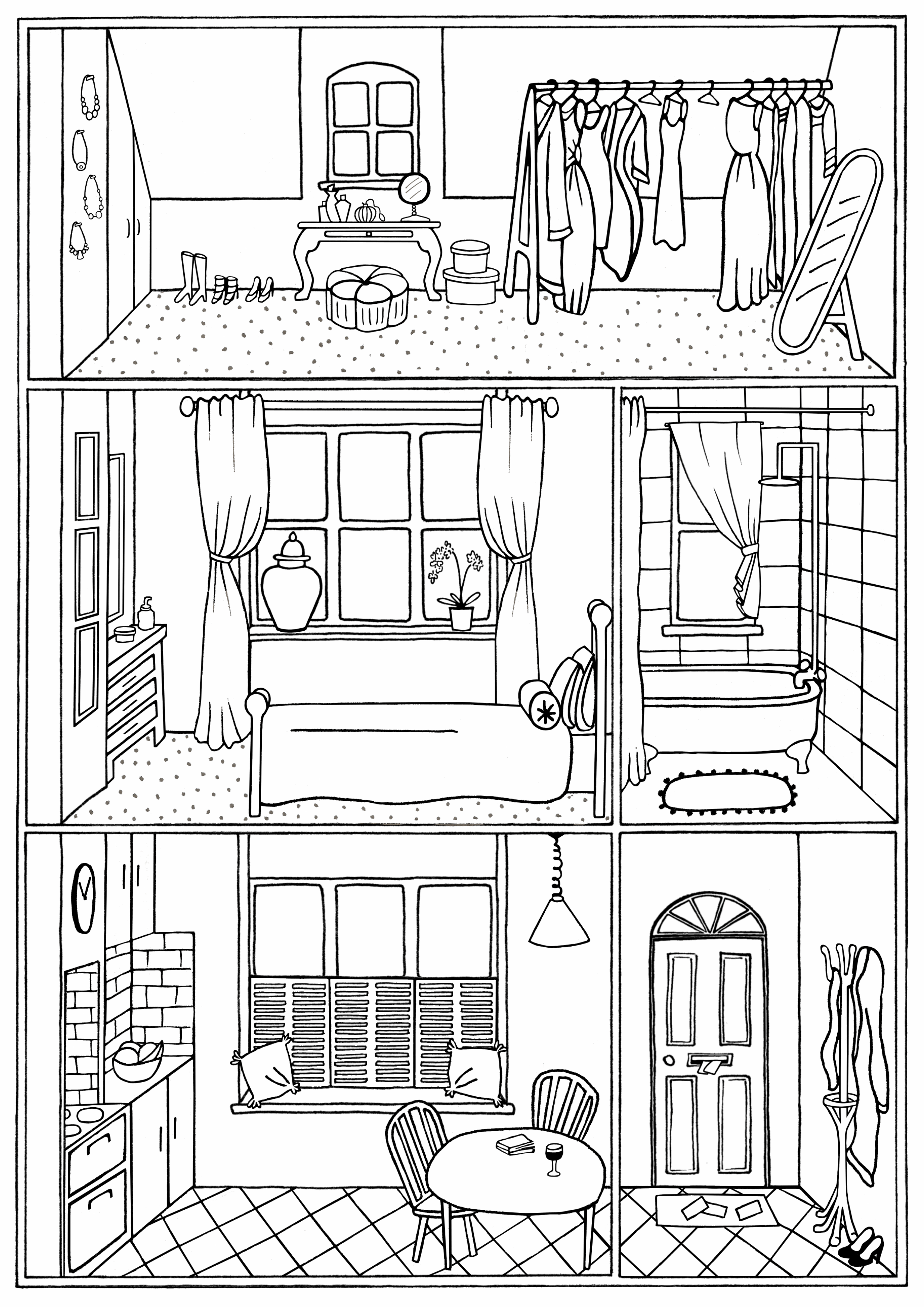 House Interior Colouring Page No 22 Line Drawing Download Etsy Colouring Pages House Colouring Pages House Drawing For Kids
