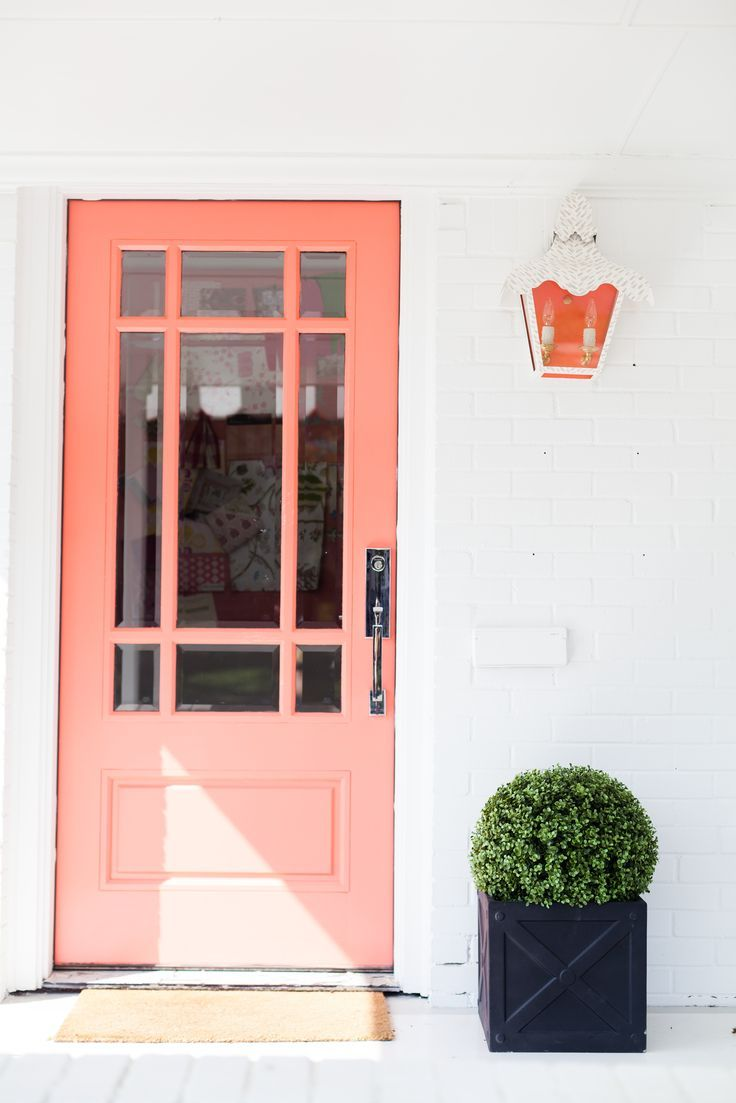 Coral Peach Door, White Wall, Topiary Plant In Modern Planter, Pantone  Blooming Dahlia
