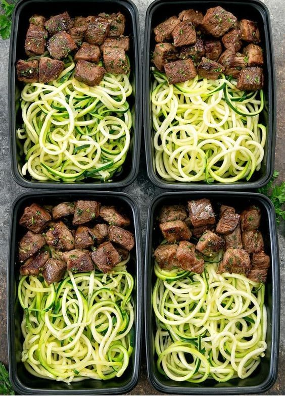 Garlic Butter Steak Bites with Zucchini Noodles Meal Prep  #cleaneatingforbeginners
