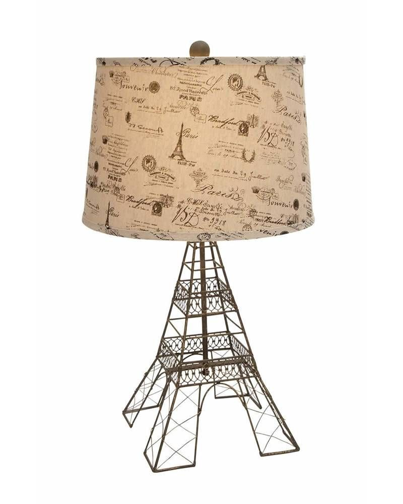 Eiffel tower metal based table lamp with printed drum shade this eiffel tower metal based table lamp with printed drum shade this pretty table lamp comes geotapseo Images
