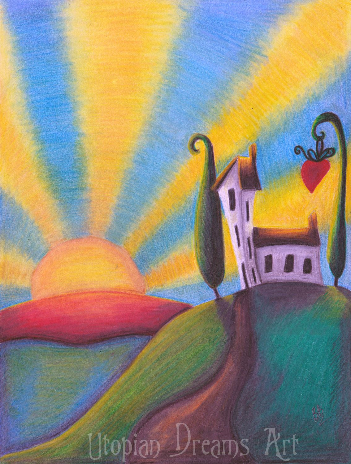 Whimsical landscape original artwork coloured pencil contemporary whimsical drawing quirky house coloured pencil drawing