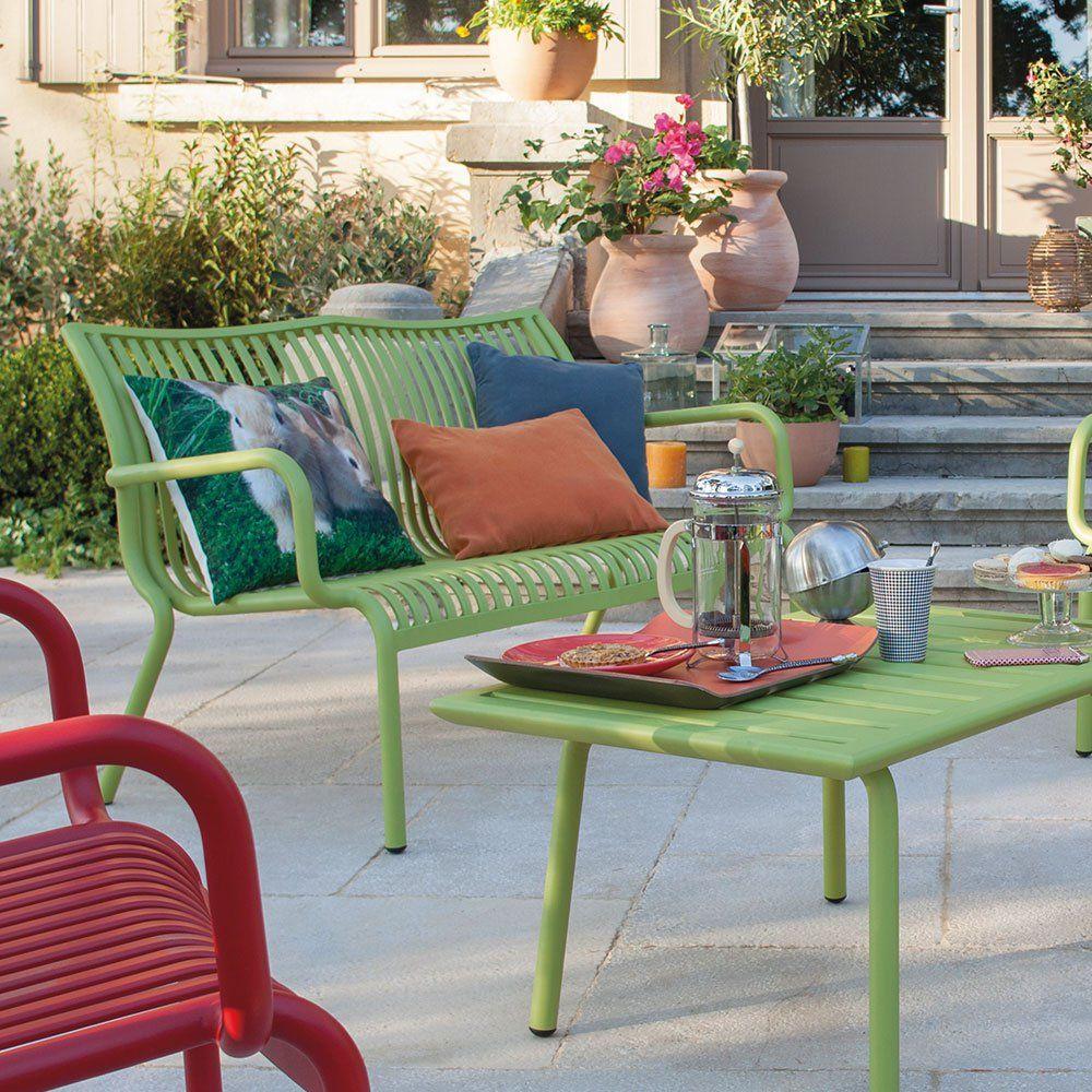 Un banc de jardin acidulé, Jardiland | Terrasses | Outdoor furniture ...