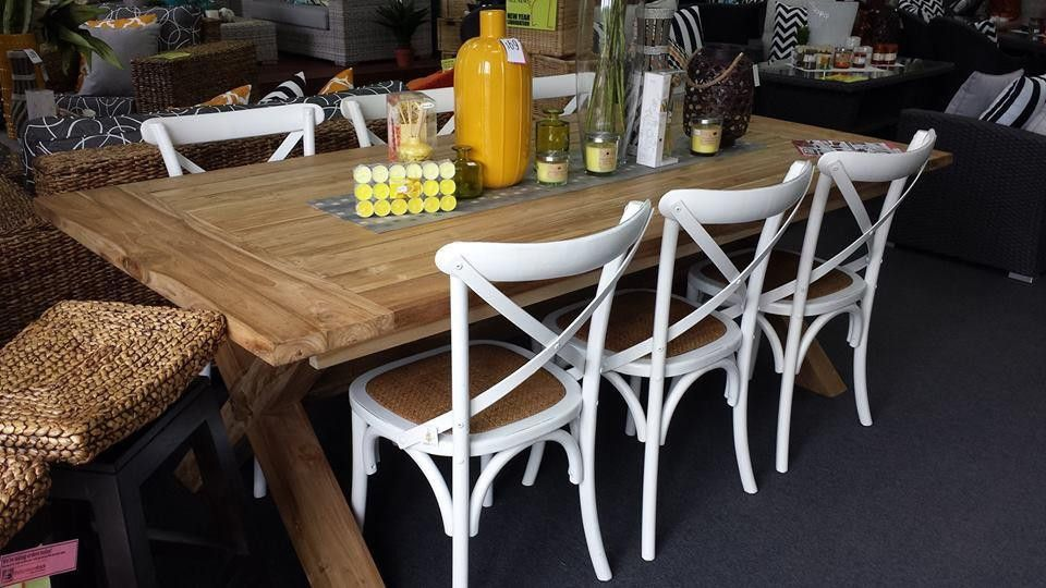 Amazing Recycled Teak Table With 6 X White Elm Wood Cross Back Dining Chairs
