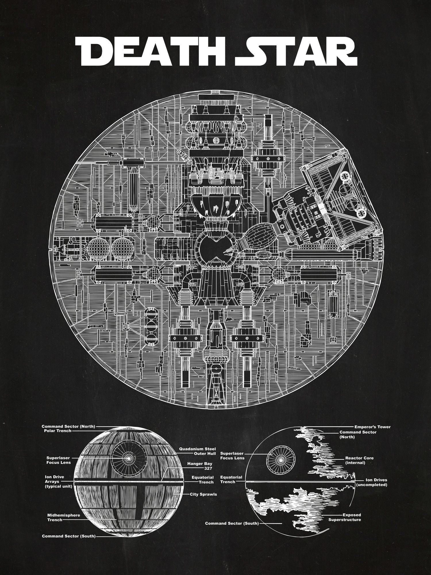 Star wars death star blueprint graphic art poster in chalkboard star wars death star blueprint graphic art poster in chalkboardwhite ink malvernweather Gallery