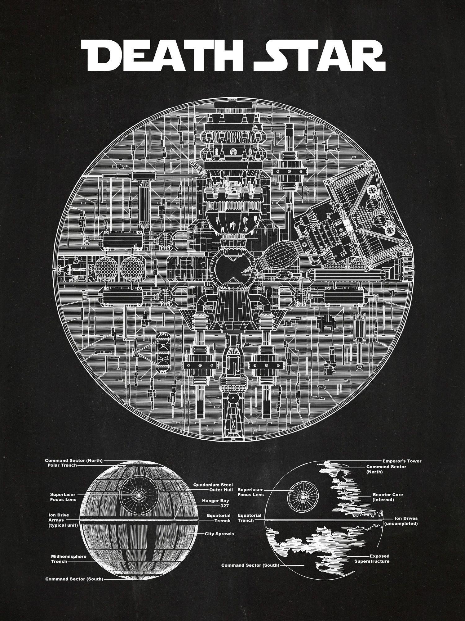 star wars death star blueprint graphic art poster in chalkboard white ink geek 39 n out. Black Bedroom Furniture Sets. Home Design Ideas