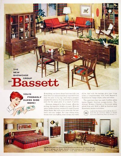 1959 Bassett Furniture Original Vintage Advertisement. Features Samples  From The Bedroom, Living Room And