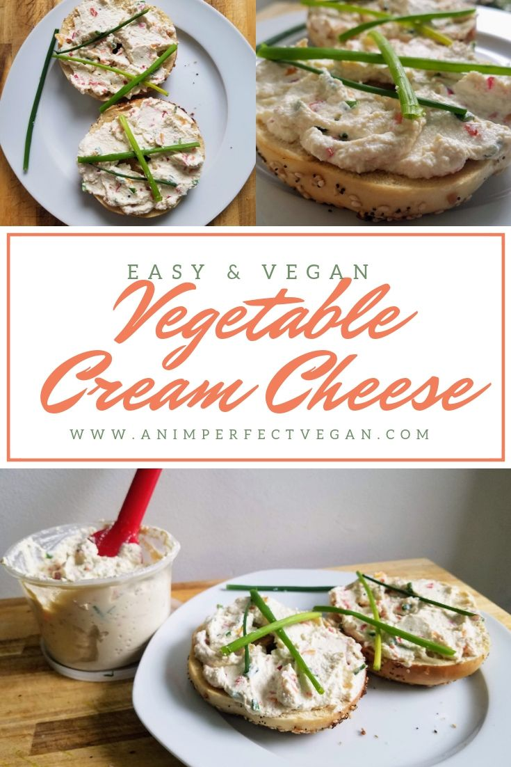 Vegan Vegetable Cream Cheese! easy vegan breakfast