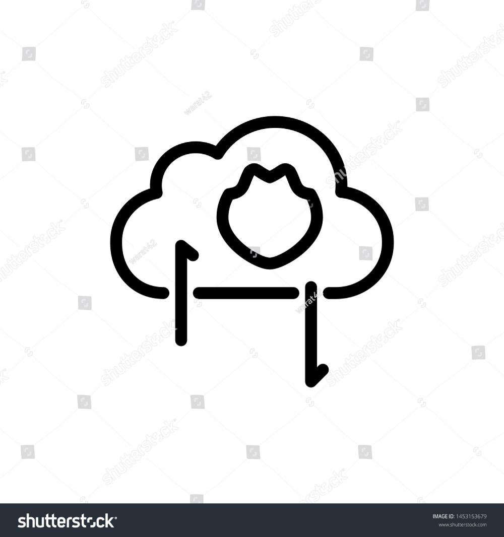 Cloud With Shield And Arrow Isolated On White Background Thin Line Icon Vector Illustration For Symbol Web Or App Stock Clouds White Stock Image Vector