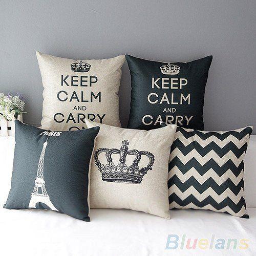 Retro Home Decorative Cotton Linen Blended Cushion Cover