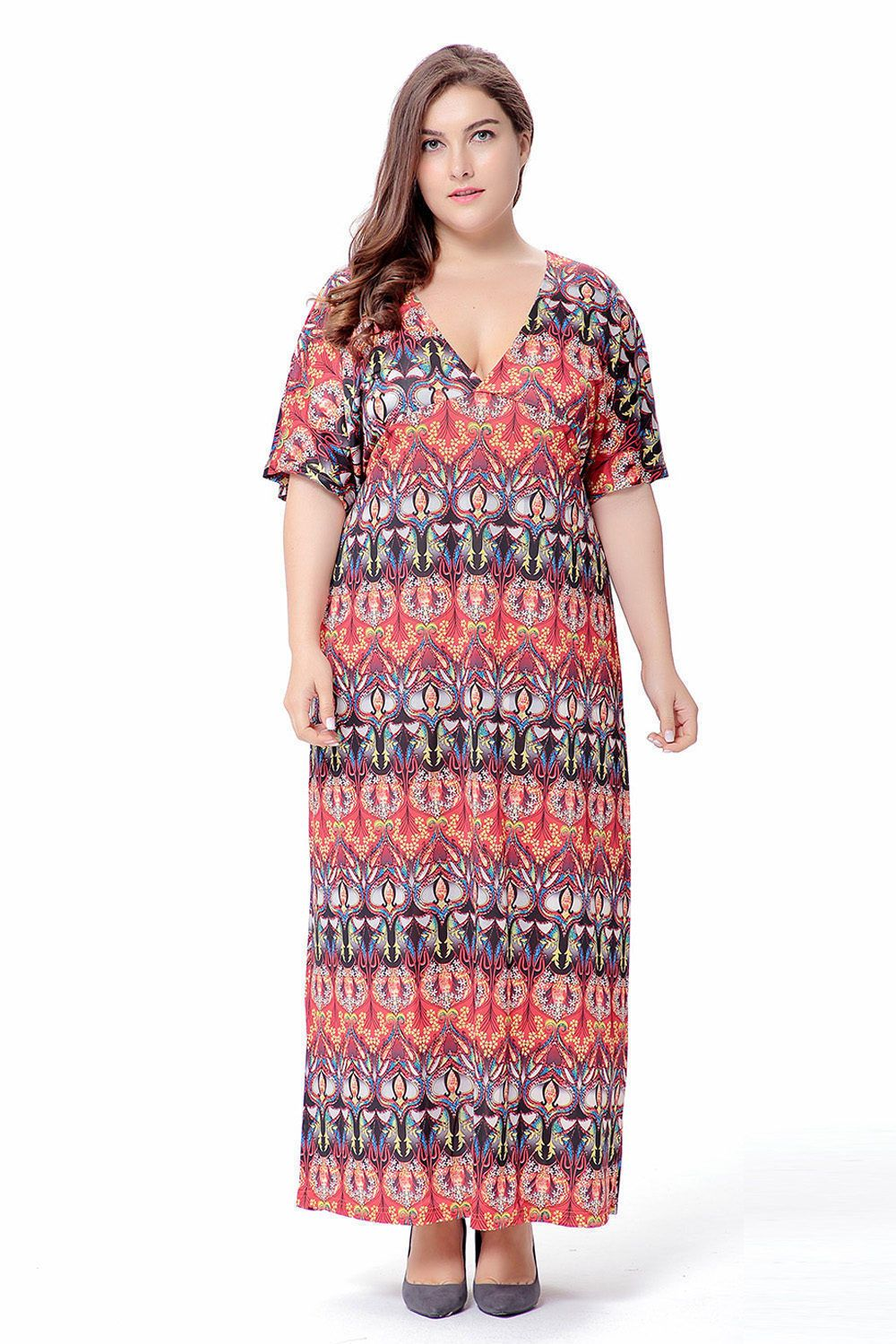 Fashion women plus size short sleeve loose dress cocktail party maxi