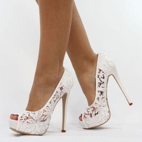 Jumex High Heels Pumps Transparent Spitze Weiss B8584 Schuhe Shoe