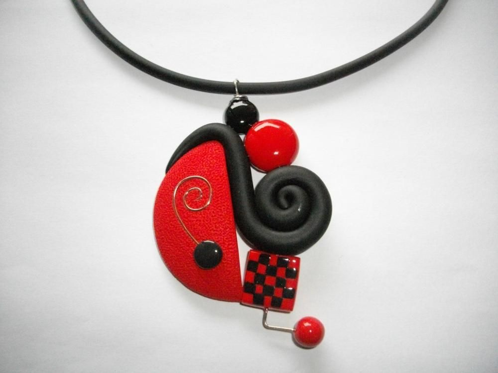 pendentif escargot rouge damier vente de bijoux fimo en ligne pendentif escargot fimo. Black Bedroom Furniture Sets. Home Design Ideas