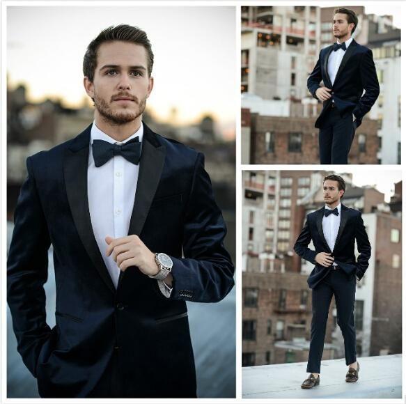 2016 New Fashion Groom\'s Wear Blue Velvet Tuxedos/Wedding Suits ...