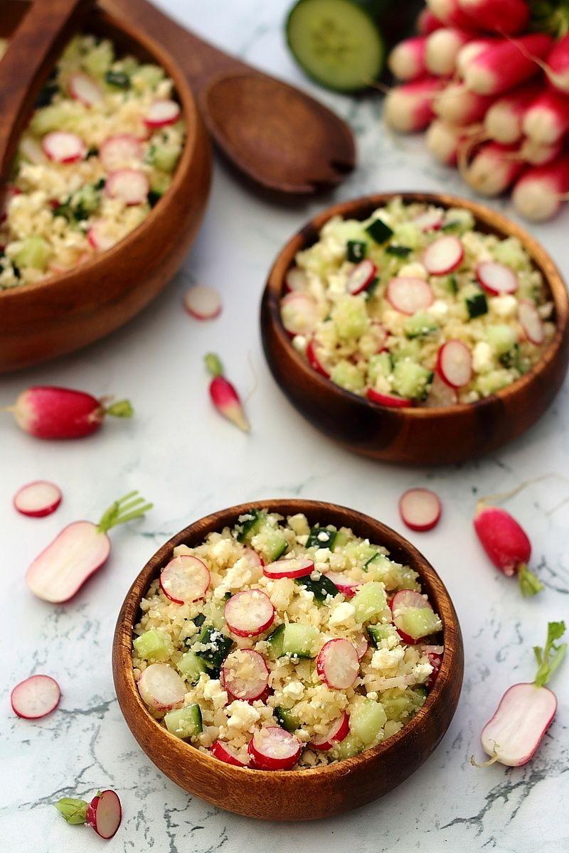 Taboulé de chou-fleur aux radis, concombre et feta ...