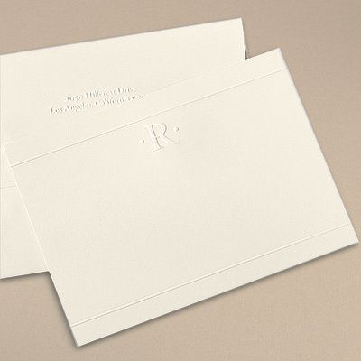 Embossed One Initial Flat Note Cards