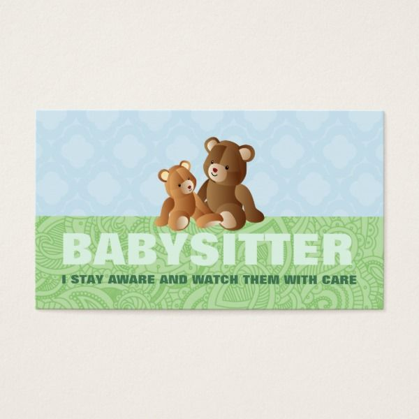 Cute Babysitter Business Cards Custom professional business cards ...