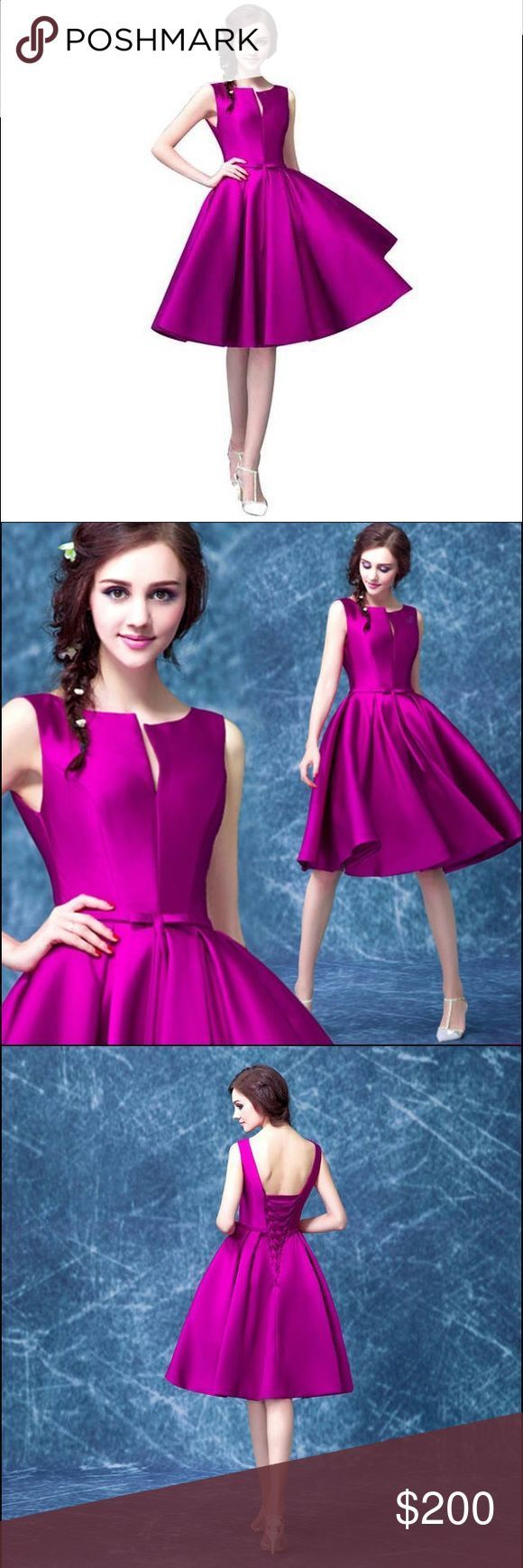 fuschia pink prom dress satin fabric Graduation Dress Fuchsia Prom Gown with Bow…