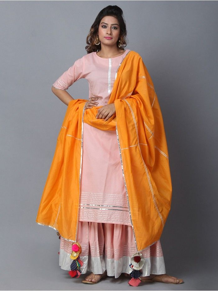 3c5ae2bde6 Pink Orange Cotton Sharara Suit - Set of 3 | My culture in 2019 ...