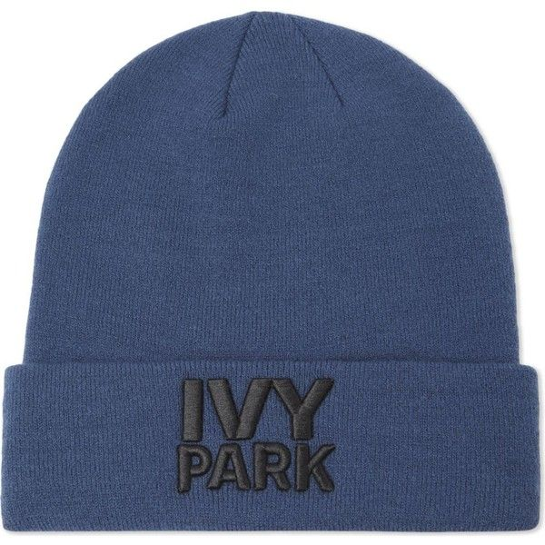 IVY PARK Logo thermal beanie ($19) ❤ liked on Polyvore featuring accessories, hats, beanie caps, acrylic hat, acrylic beanie hat, logo beanie hats and ribbed beanie hat