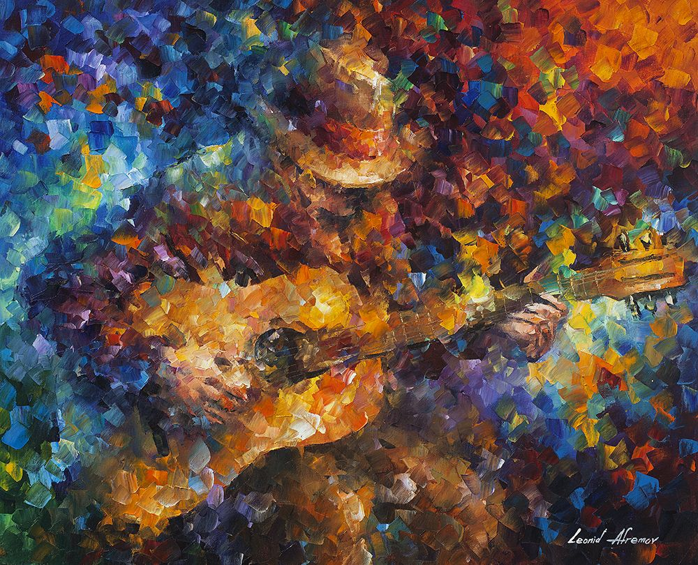 Guitar Ballad - Palette Knife Oil Painting On Canvas By