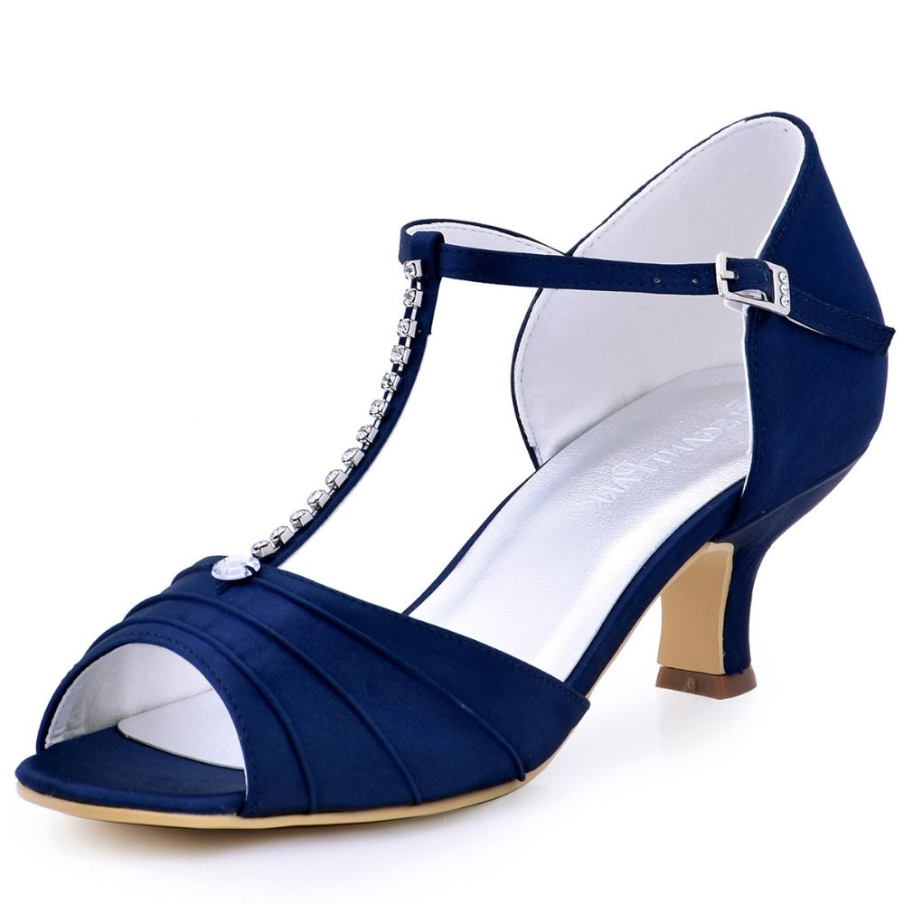 shoes navy blue low heel rhinestone t pumps