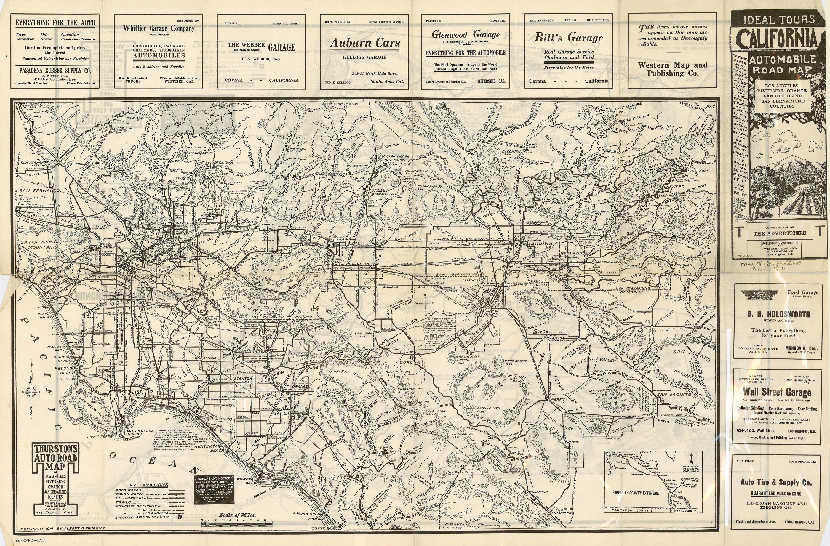 1914 Ideal Tours California Road Map Map California Ca