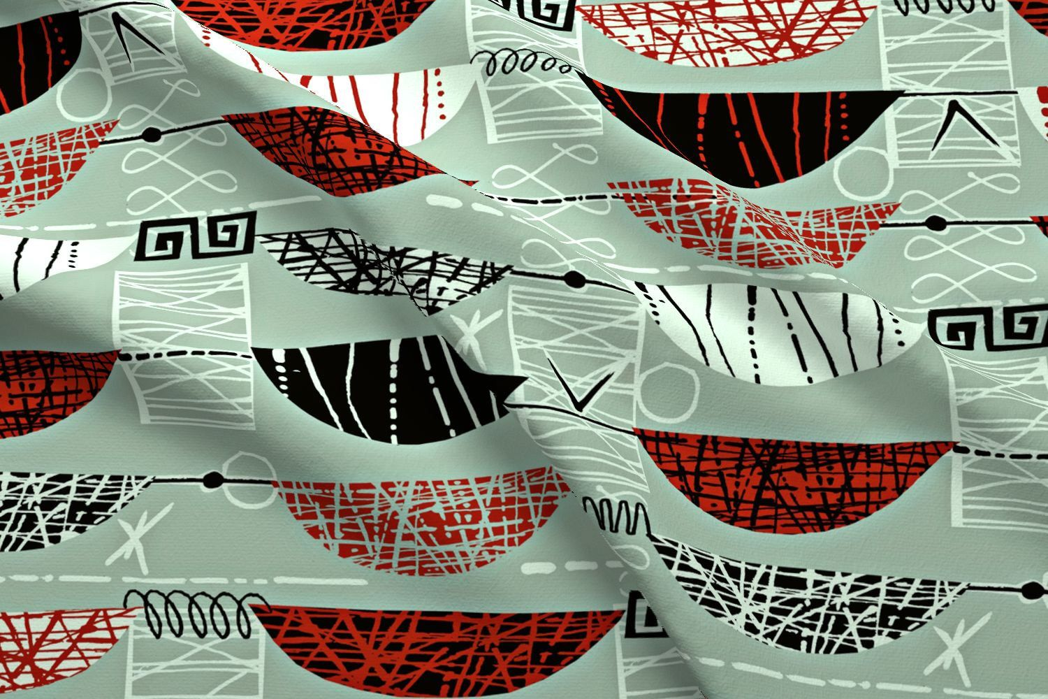 Mid Century Modern Fabric - Mod Graphic Red By Chicca ...