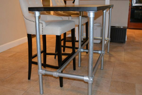 Delightful DIY Counter Height Table With Pipe Legs