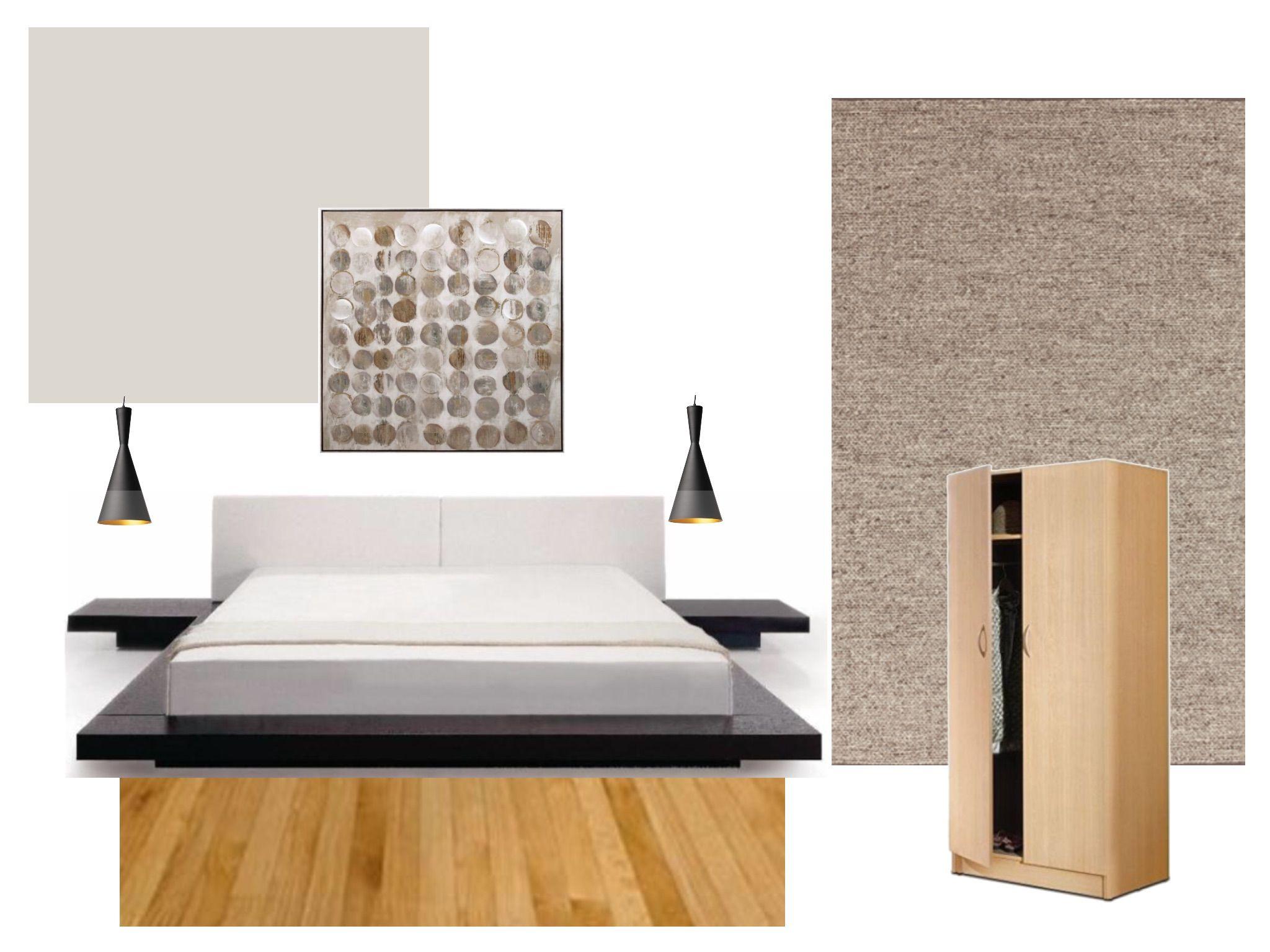 Rustic master bedroom, wood wardrobes, black pendants, low