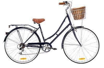 NEW-2015-Dutch-DELUXE-NAVY-Ladies-Vintage-Retro-Bike-20-Shimano-7-Spd