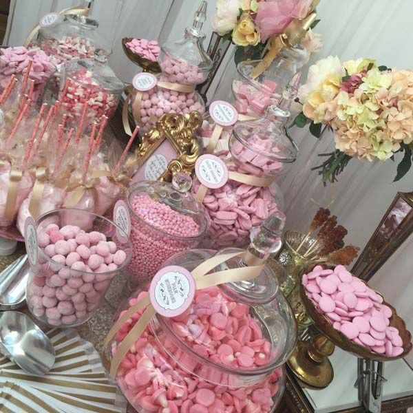Wedding Sweetie Table Table Pink And Gold Candy Buffets L Sweetie Tables L Dessert Tables L Handmade Truffle Gold Candy Buffet Pink Dessert Tables Gold Candy