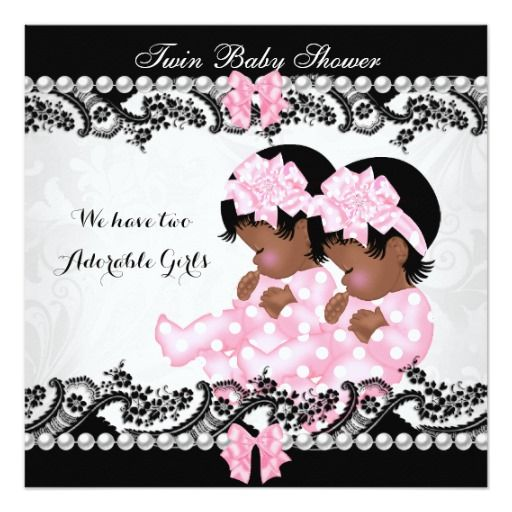 African American Twins Baby Shower, Twin Girls Baby Shower, Cute Girl Pink  Girl,