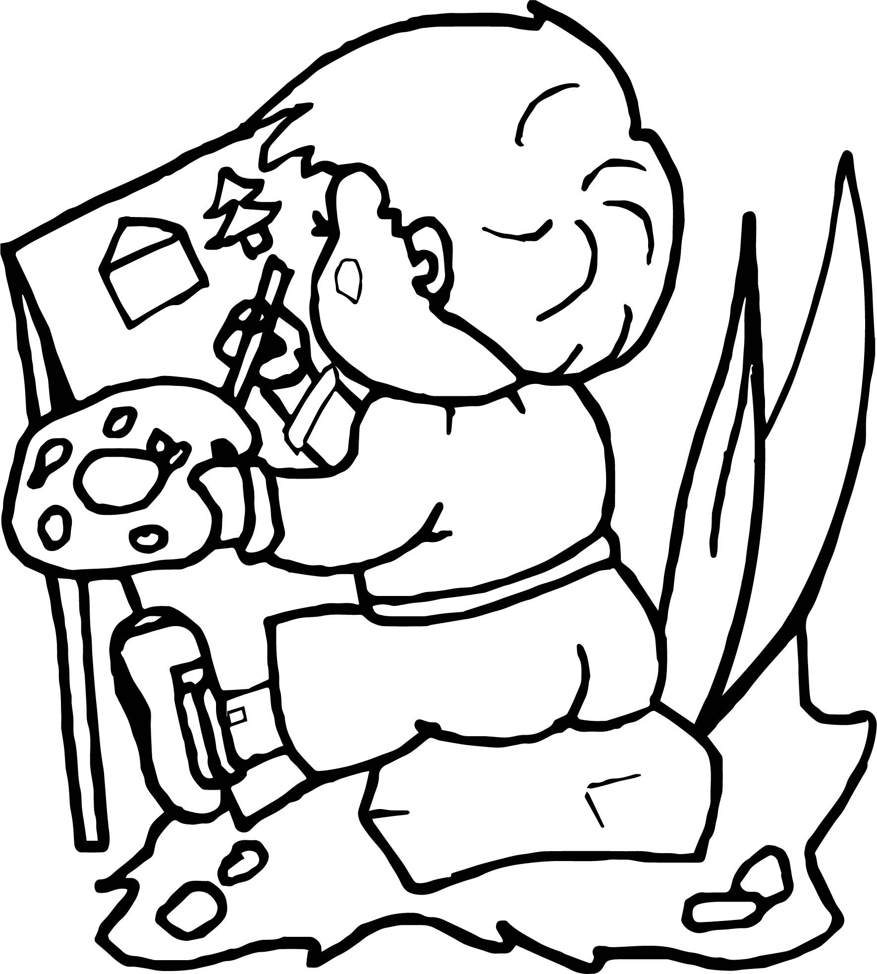 Nice Child Painting Activity Coloring Page