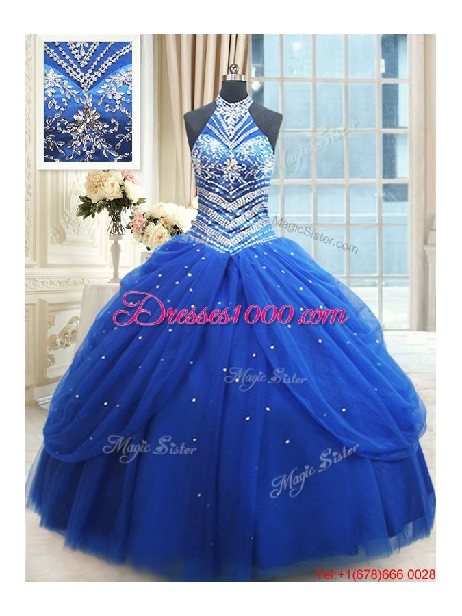1c1c888cd7c Top Seller Beaded Decorated Halter Top Royal Blue Quinceanera Dress in Tulle